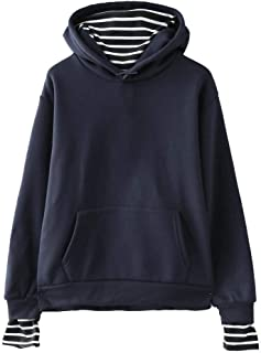 Trolimons Women Solid Color Casual Striped Pullover Stitching Fake Two-Piece Hooded Sweatshirt with Pockets