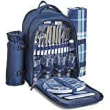 VonShef Navy Tartan Picnic Backpack Hamper with Cooler Compartment – Includes Tableware & Fleece Picnic Blanket (4 Person)