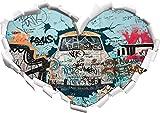 Stil.Zeit Trabant durch die Wand, Trabi DDR Kult Herzform im 3D-Look, Wand- oder Türaufkleber Format: 62x43.5cm, Wandsticker, Wandtattoo, Wanddekoration
