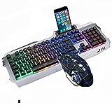 Combinación de Teclado y Mouse retroiluminado para Juegos RGB de Metal Luminoso, Teclado retroiluminado con Cable USB, Juego de Mouse con Teclado LED para Juegos para computadora portátil(Color:mi)