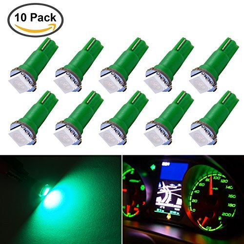BEAMFUN 10 Piece T5 5050 1-SMD LED Automotive Car Lights Bulb Dashboards Gauge Indicator Bulbs Ignition Lights For All T5 Wedge Type 1SMD 17 18 27 37 58 70 73 74 79 85 86 2721 Green