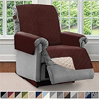 Sofa Shield Original Patent Pending Reversible Large Recliner Protector, Seat Width to 28 Inch, Furniture Slipcover, 2 Inch Strap, Reclining Chair Slip Cover Throw for Dogs, Recliner, Chocolate Beige