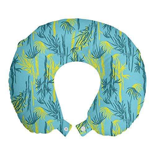 ABAKUHAUS Natürlich Reisekissen Nackenstütze, Abstrakte asiatische Pflanzen Motiv, Schaumstoff Reiseartikel für Flugzeug und Auto, 30x30 cm, Gelb Hellblau und Teal