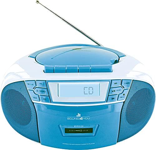SCHWAIGER -661651- Lettore CD portatile con lettore di cassette e radio MP3 Porta USB FM FM FM Radio AUX Cuffie Boombox stereo per la casa e i viaggi Rete elettrica e display a batteria