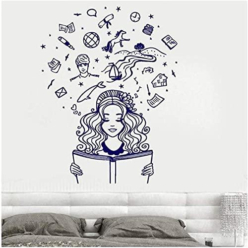 Great Wall Vinyl Decalcomania da muro Ragazza che legge un libro Immagina Fantasy Fiaba Adesivo murale romantico Camera da letto Soggiorno 42X54Cm