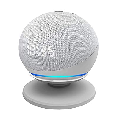Stand for Echo Dot 4th, Adjustable Table Holder for Echo dot 4th Generation, Improves Sound Visibility and Appearance, Easy to install, Sturdy Construction, Space-Saving Alexa Dot Accessories, White from IRONA PRODUCTS