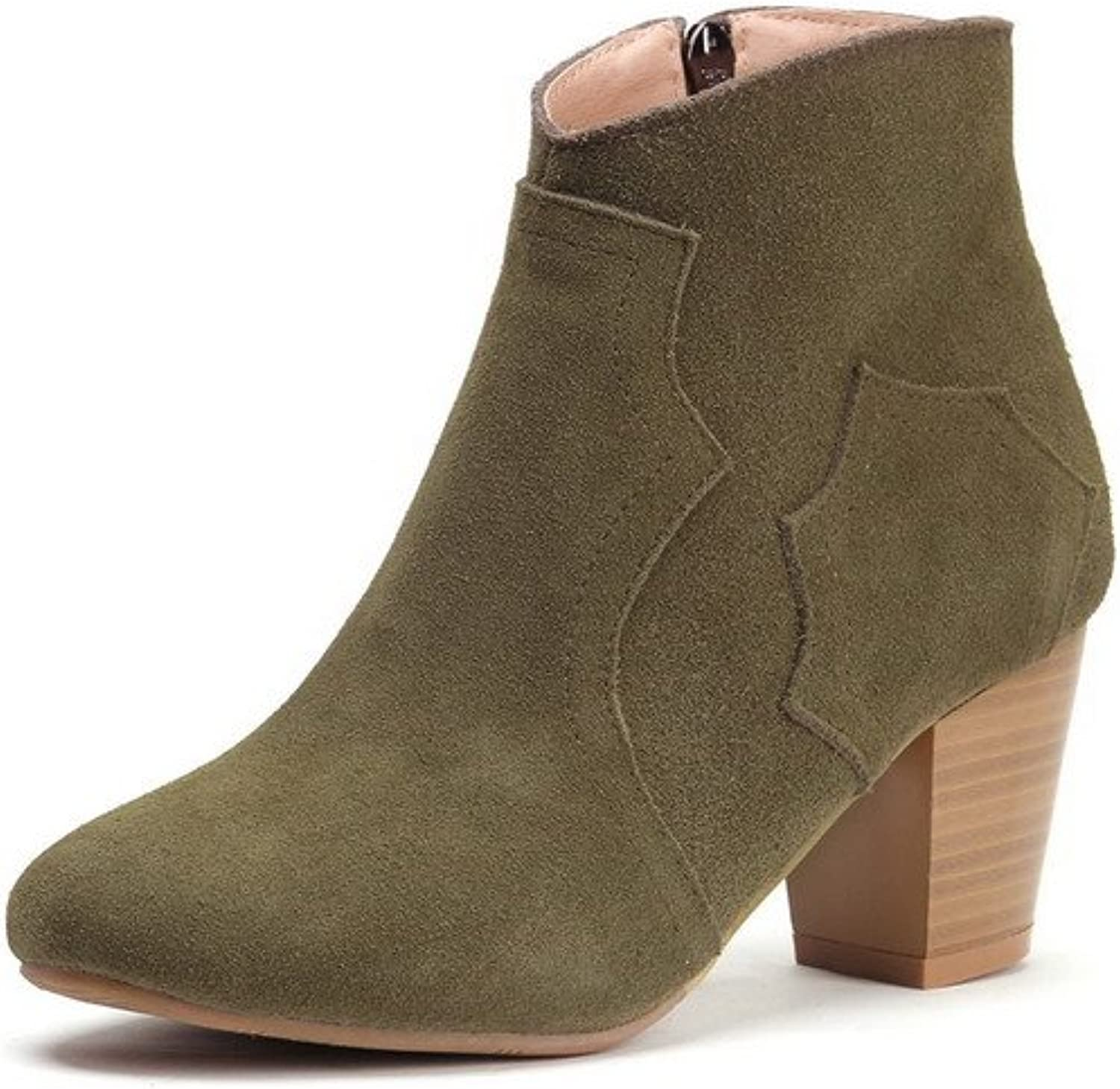 AmoonyFashion Women's Round-Toe Closed-Toe Kitten-Heels Boots with Chunky Heels and Zippers