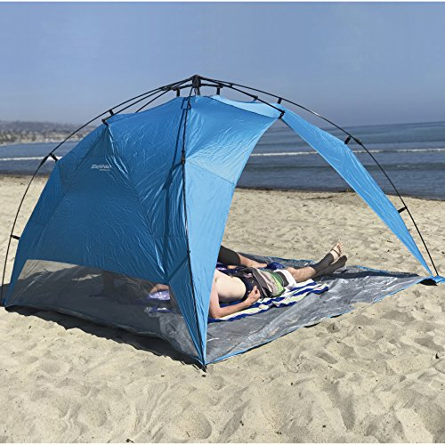 EasyGo Shelter XL - Instant Beach Umbrella Tent Pop Up Canopy Sun Sport Shelter with PVC Floor - 8 Foot X 8 Foot XL Size.