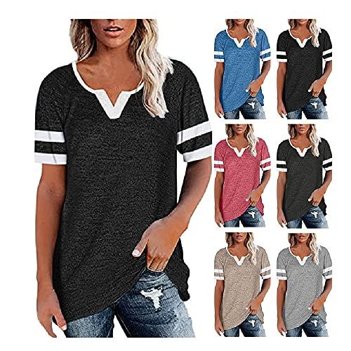 Camiseta Mujer Tops Mujer Cómodo Casual Sexy con Cuello En V Raya Empalme Manga Corta Vacaciones Verano Moda Suelta Linda Nueva Mujer Blusa Mujer Camisa A-Black XL