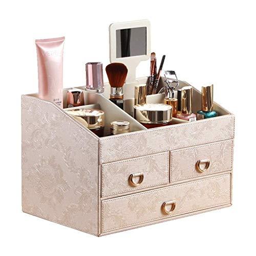 WYBFZTT-188 Organizador de Maquillaje de Cuero para el hogar Caja de Almacenamiento de Cosméticos de Gran Capacidad Estilo Europeo Cajón de Escritorio Joyería Oficina Oficina Tocador para el Hogar,