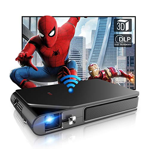 WIKISH Portable Mini WiFi Projector Home Theater 3D Movie Sync Screen 1080P Support Dlp Projector with Battery for Smartphone Tv Stick Laptop Dvd Ps5