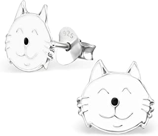 PTN Cute White Cat Earrings Hypoallergenic Sterling Silver Stud Animal (E13006N)