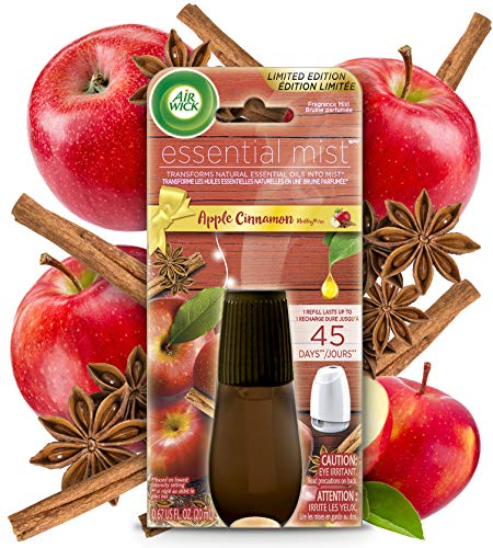 Air Wick Essential Mist, Essential Oils Diffuser, Apple and Cinnamon, 1ct, Fall scent, Fall spray, Air Freshener, Packaging May Vary