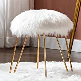 Duhome Mongolian Faux Fur Ottoman Round Foot Rest Stool Vanity Stool Makeup Stool with Gold Metal Hair Pin Legs for Bedroom Living Room White