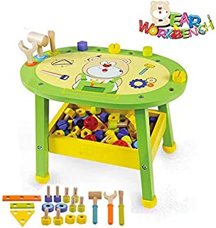 Kids Workbench Wooden Bear Master Workshop| Award Winning Kid's Wooden Tool Bench Toy Pretend Play Creative Building Set, Solid Wood Toy Workbench Includes Tool Building Set.
