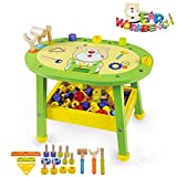 Arkmiido Kids Workbench Wooden Bear Master Workshop| Award Winning Kid's Wooden Tool Bench Toy Pretend Play Creative Building Set, Solid Wood Toy Workbench Includes Tool Building Set
