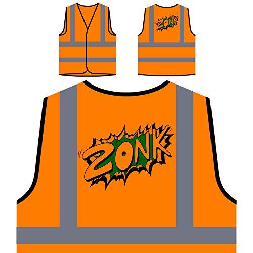 Zonk Design Überraschung lustige Neuheit Kunst Personalisierte High Visibility Orange Sicherheitsjacke Weste ss79vo