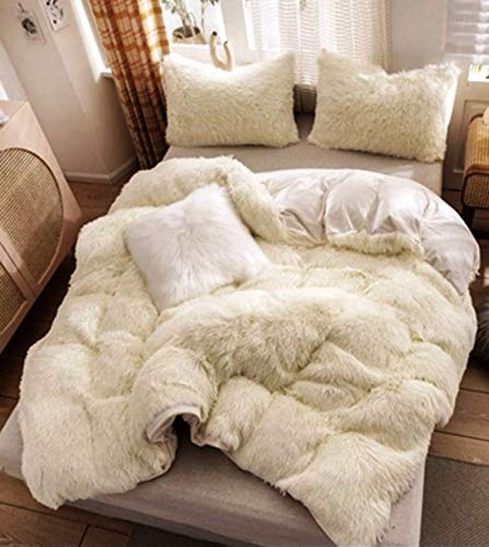 MAS Duvet Cover King Size Off white Fluffy Lush Fleece Bedding Set with Pillowcases Super Soft Flannel Bedding Quilt Set - 100% Polycotton Fabric - Easy Care Best Item For Gifts