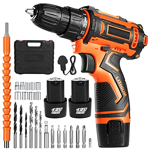 OUBEL Cordless Drill/12V Power Drill 25N.m, 2x2000mAh Batteries, 1H Fast Charger, with 25pcs Drill Set, 3/8 inch Chuck, 2 Variable Speed, 18+1 Torque Setting, for Drilling Walls, Wood, Steel