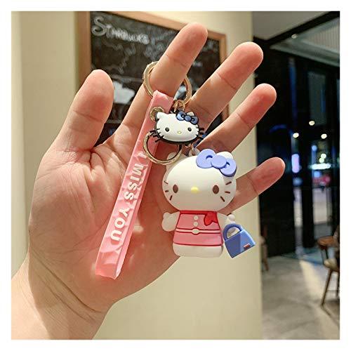 YSYSPUJ Llavera Hello Kitty Lindo Dibujos Animados Cat Muñecas Llavero Silicona Coche Cojín Pendiente Creativo Llavero Venta al por Mayor Regalos Colgantes Llavero (Color : Navy Blue)