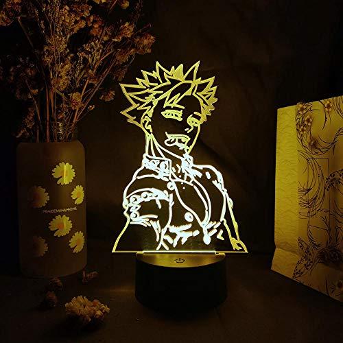 Luz De Ilusión 3D Luz De Noche Led Los Siete Pecados Capitales Figura De Anime Prohibición Visualización De Siluetas Ventiladores De Otaku Decoración De Dormitorio Lámpara De Mesa Decoración Del Hogar