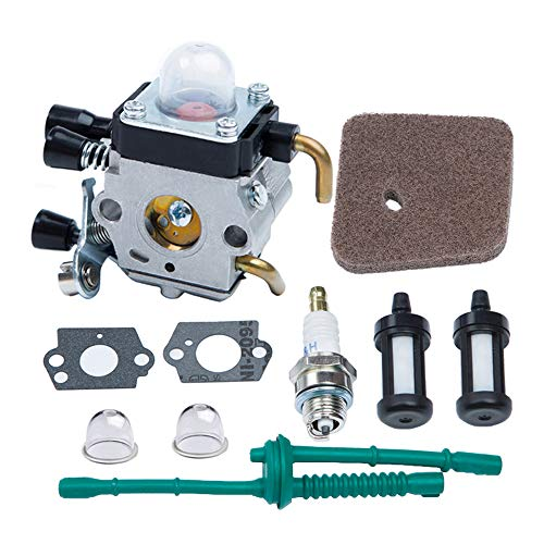 HOODELL Adjustable FS55 Carburetor, Easy-Start FS 55 Carb with Rebuild Kit, Premium FS55R FS45 Carburetor for ZAMA STIHL String Hedge Trimmer Weed Eater Parts with Fuel Line Kit