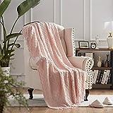 NexHome Throw Blankets Pink Decorative Knit Blanket with Tassel Soft Lightweight Zigzag Textured Boho Throws (50'x60' Blush Pink)