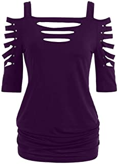 ReooLy Womens Fashion Shoulder Cut Lacerated Sleeve T-Shirt Hollow Out Casual Tops