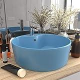 UnfadeMemory Lavabo Redondo de Cerámica de Baño,Diseño, Rebosadero y Orificio para el Grifo,sobre el Mueble,36x13cm (Azul Claro Mate)