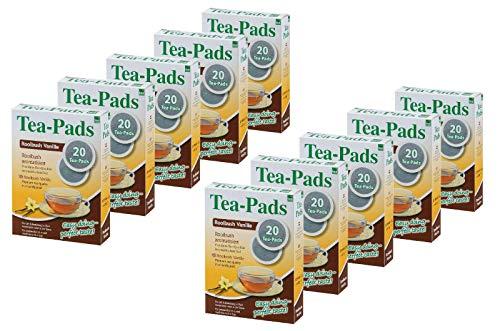 10 Packungen mit je 20 Tea Pads Rooibushtee Vanille für Pad und Siebträgermaschinen von Tea Friends