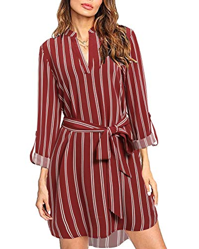 kenoce Blusa Vestidos para Mujer Cuello en V Plaid Camisa Suelta de Manga Larga Vestidos Casual Túnica Larga Tops F-Vino Tino M