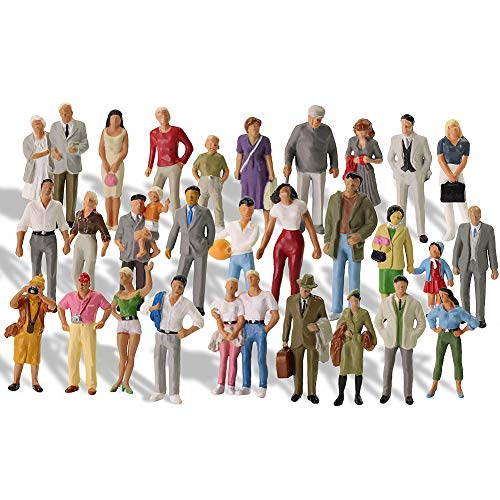 P4310 30 PCs O Gauge Figures All Standing 1:43 O Scale Model Trains Passengers 30 Different Poses People Model Railway for Miniature Scenes