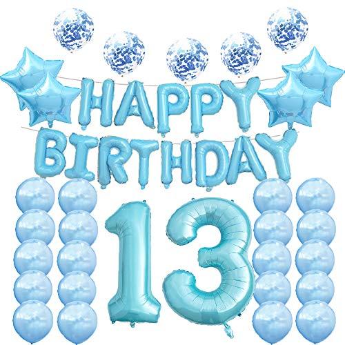 Globos de 13 cumpleaños para decoración de fiestas, globos de Mylar azul, número 13, decoración de globos de látex, gran regalo de 13 cumpleaños para niñas, accesorios de fotos