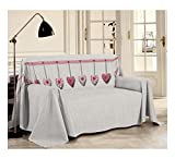 Smartsupershop Tagesdecke Frühling Sommer Doppelbett 250 x 290 cm Amore Love Rot aus Baumwolle Jacquard Made in Italy