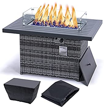 fire Pit Table Outdoor fire it Coffee Table 44  Rectangle Propane fire Pit with Waterproof Cover 55,000 BTU Grey fire Pit Propane with AluminiumAlloy Table top  44  +Wind Glass+Cover Grey