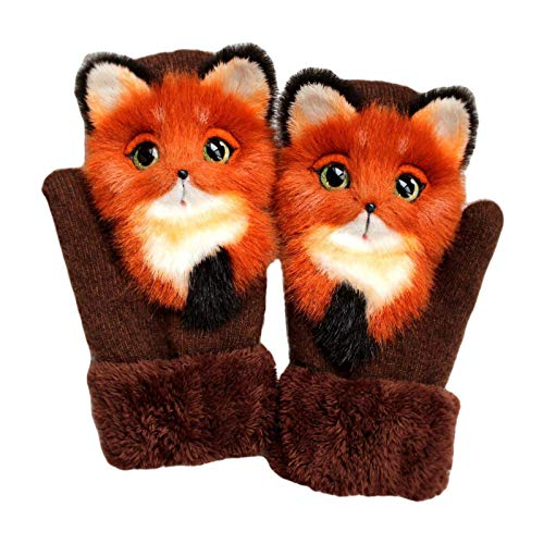Handmade Plush Animal Gloves, Cute Knitted Glove for Women, Girls Winter Warm Wool Lined Gloves With Plush Doll, Christmas Gifts (Orange-Fox)