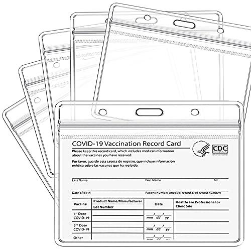 Uhada CDC - Protector para tarjetas de vacunación horizontal de 4 x 3 pulgadas, funda de plástico para tarjeta de vacunación (10 unidades)