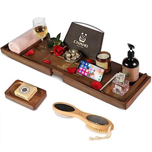 Chaho Bambus Badewannenablage Ausziehbar Badewanne Caddy Tablett mit badewannentablett, natürliche Bambus badewannenbrett Tablett, Kostenlose Seifenkiste und Bürste