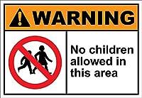 このエリアでは子供の立ち入り禁止 金属板ブリキ看板警告サイン注意サイン表示パネル情報サイン金属安全サイン