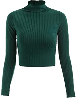 Womens Pullover Knitted Solid Blouse Long Sleeve Cropped Top Sweaters Top