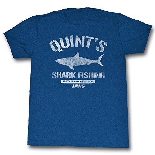 Jaws - Mens Quint's Shark Fishing T-Shirt, Sea Blue Heather - S to XXL