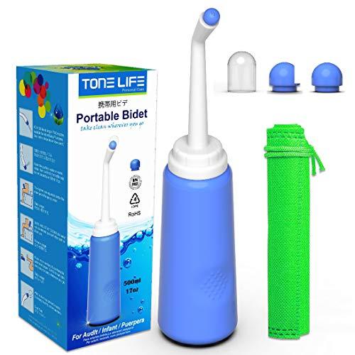 TONELIFE bidet da viaggio – bottiglia spray portatile per bidet da 500 ml per trattamento post-partum perineale e trattamento emmoroide – pulizia per mamma dopo la nascita – acqua dolce sanitaria