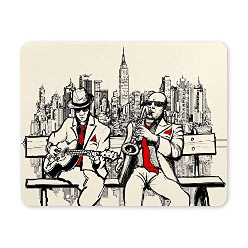Yanteng Mouse pad da gioco, Mouse Pad Due Jazz Men che giocano a New York Gaming Mouse Pad per computer