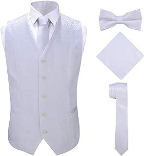Men's 4pc Classic Jacquard Suit Vests with Tuxedo Necktie Handkerchief Bowtie Set
