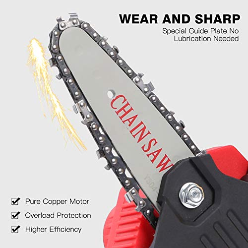 Seesii Portable Electric Pruning Saw, Mini Electric Chain Saw Professional Cordless Electric Pruning Shears with Extral Backup Rechargeable Lithium Battery Powered Tree Branch Pruner Garden Tool