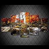 JRLDMD Otoño Naturaleza Bosque Paisaje Lienzo Cuadro 5 Piezas HD Impresiones Cartel Modular Pared Arte imágenes Sala de Estar decoración del hogar imágenes