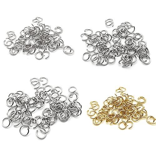 400 Piezas Anillas Abiertas 1.2 mm * 8 mm/9 mm/10 mm Anillas de Salto para Collar Pulsera Gargantilla Anillo de Salto para Fabricación de Joyas de Bricolaje (Oro y Plata)