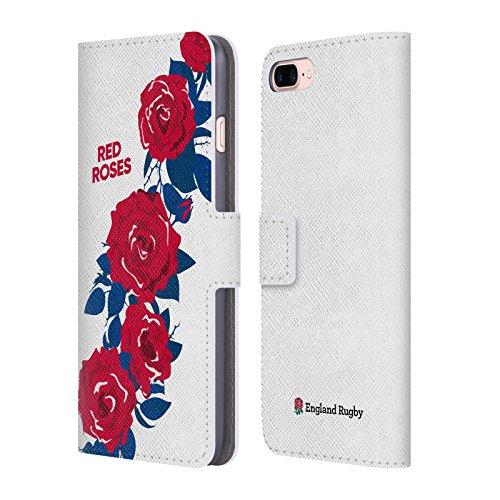 Head Case Designs Official England Rugby Union Rojo La Rosa 2 Carcasa de Cuero Tipo Libro Compatible con Apple iPhone 7 Plus/iPhone 8 Plus
