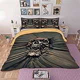 WONGS BEDDING Bettwäsche 3D Gothic Schädel Bettbezug Set 135x200 cm Bettwäsche Set 2 Teilig Bettbezüge Mikrofaser Bettbezug mit Reißverschluss und 1 Kissenbezug 50x75cm