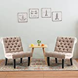 Haobo Armless Accent Chairs with Button Tufted for Living Room or Reception Room (Set of 2) Livingroom Chair, Khaki